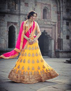 #Yellow #Net #Lehenga Choli