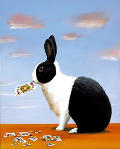 Black and white #rabbit eating #cards by #illustration by Robert Deyber