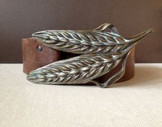 Vtg Distressed Leather Belt // Brass by JansVintageStuff on Etsy, $84.00