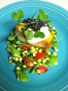 Cooking up a different  fish: Paiche with corn & Romano bean succotash, lemon pepper aioli and radish sprouts @ preppings.com