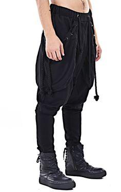 dfc6f107ea4 Men s Loose Casual Drop Crotch Harem Pants   Black Pants Harem Jersey Jogger