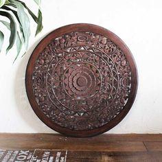 アジアン レリーフ 木製 壁飾り ウッドレリーフ  ウォールデコレーション 丸型 80cm バリ島 インテリアオブジェ