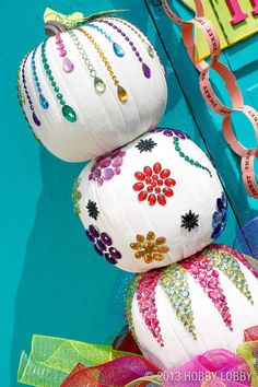 Get creative with 25 different unique ways to decorate Halloween pumpkins, including a DIY for a sparkly white pumpkin covered in sparkly gems. Pumpkin Art, Pumpkin Crafts, Fall Crafts, Pumpkin Carving, Holiday Crafts, Holiday Fun, Pumpkin Recipes, Blue Pumpkin, Pumpkin Painting