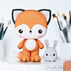 Polymer Clay Figures, Polymer Clay Animals, Cute Polymer Clay, Cute Clay, Polymer Clay Projects, Cake Topper Tutorial, Fondant Tutorial, Cake Toppers, Clay Fox