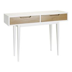 2 Drawer Console Table, Natural and White | ACHICA