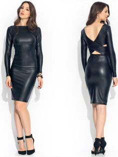 Women Sexy Bilateral Long Sleeve Patent Leather Tight Club Dress
