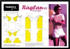 O modelo Raglan de camiseta é conhecido por ter suas mangas estendidas em uma peça só até a gola, geralmente com uma cor diferente do tron...