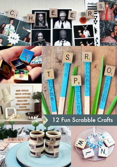12 of the Best Scrabble Tile Crafts. You'll love these easy DIY tutorials! Great ideas for homemade gifts, wall art, and home decor. Use the tiles to make sayings or quotes - so fun. Scrabble Letter Crafts, Scrabble Art, Scrabble Tiles, Scrabble Ornaments, Cute Crafts, Creative Crafts, Crafts To Make, Crafts For Kids, Diy Craft Projects