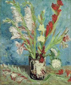 Vincent Van Gogh - Vase mit Gladiolen - Kunstreproduktionen, individuelle Kunstkarten