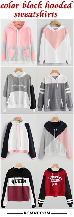 color block hooded sweatshirts from romwe.com