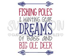 Fishing Poles And Hunting Gear Custom DIY Iron On Vinyl Baby Onesie or Little Boy Shirt Decal Cutting File in SVG, EPS, DXF, JPEG, and PNG Format
