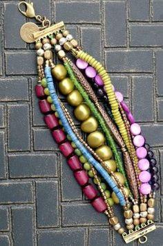 Purple, Blue and Copper Multi-Strand Beaded Cuff Bracelet by harriett