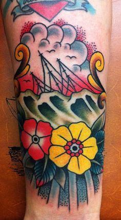 Sinking ship freehand - Samuele Briganti Tattoo Artist