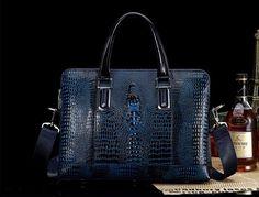blue crocodile patterned, leather bag for men!