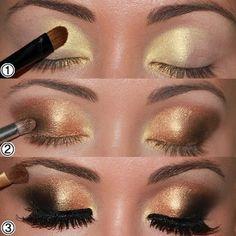 Este maquillaje es perfecto para las noches más especiales en las que ves amanecer.  #maquillaje #sombras #doradas #ojos #estilo #pestañas