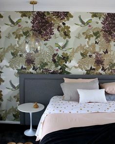 Blossom by Tamara Design Co at Private Residence, Bridgetown Accent Wallpaper, More Wallpaper, Wall Wallpaper, Wall Installation, Printed Linen, Beautiful Bedrooms, Designer Wallpaper, Your Space, Interior Design