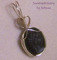 Blackstone Cameo Pendant Handmade Wire Wrapped by JewelryArtistry, $45.00