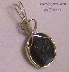 Blackstone Cameo Pendant Handmade Wire Wrapped by JewelryArtistry, $45.00