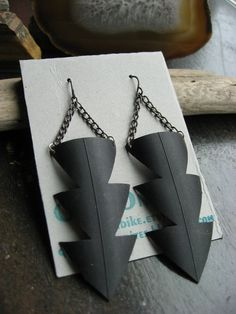 Power of Three -  Recycled Bike tube earrings via Etsy