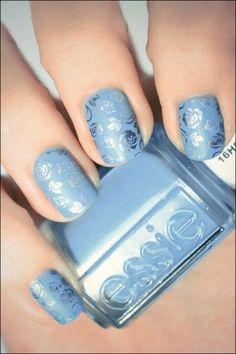 Light Blue Floral Nails