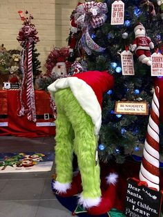 Christmas Holiday Green Furry legs Butt with Red Jacket/boots & White Fur Trum Tree Stand up Home Decoration legs stuffed