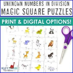 Missing Addends in Division | Unknown Numbers Distance Learning Option |  Digital Google Slides compatible, **NO PREP Math Centers, Magic Square Puzzles, 4th, 3rd grade, Activities, Homeschool, Math, Centers, Test Prep, Stations, Review, Rotations, Unknown Numbers in dividing (fourth, third graders, Year 3, 4, upper elementary) #Math #Dividsion #MissingAddends #UpperElementary Learning Centers, Math Centers, Fun Learning, Elementary Math, Upper Elementary, Magic Squares, Critical Thinking Skills, Homeschool Math, Test Prep