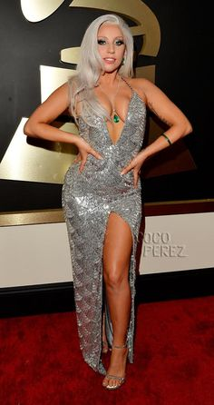 Lady GaGa Walks The Grammys Red Carpet In Silver