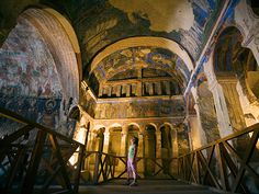 Picture of fresco paintings inside a church in Cappadocia, Turkey  Ancient Frescoes  Photograph by David Sutherland, Alamy Stock Photo