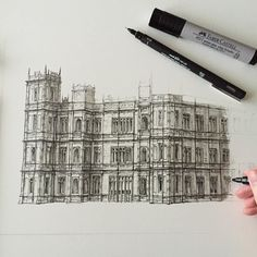 Nearly finished... #art #drawing #pen #sketch #illustration #highclerecastle #highclere #downtonabbey #berkshire #newbury #architecture #building