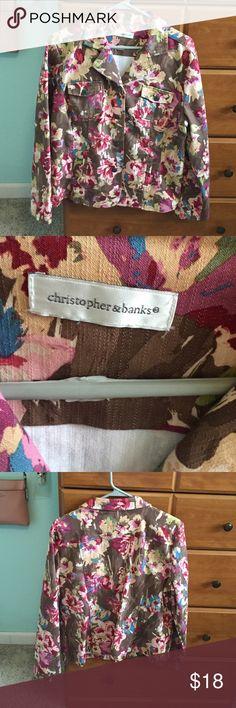 Christopher & banks floral jacket size large Christopher and banks brown and floral jacket. Size large. In great condition. Christopher & Banks Jackets & Coats