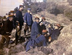 French Gunners receive instruction, 1916. Rare WWI color photograph made with an Autochrome Lumière technique.