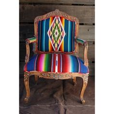 Serape Abstract Interiors / The English Room Blog love!! Bench with Navajo saddle pad seat or chair like this? Navajo print seat cushions!