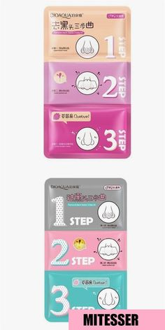 3 Step Kit Beauty Clean Face Care Cosmetic Pig Nose Mask Remove Blackhead Acne R… - Modernes Face Care Routine, Face Care Tips, Face Skin Care, Blackhead Remedies, Blackhead Remover, Blackheads On Cheeks, Nose Mask, Remove Acne, Prevent Wrinkles