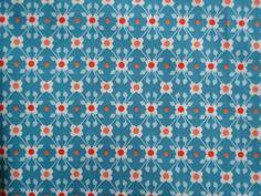 Tissu En Coton Öko Tex rouge turquoise@rétro vintage coton@Fleurs soft cactus