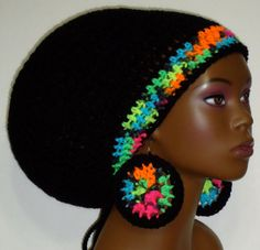 Black Neon Trim Crochet Rasta Tam Hat Cap with by razondalee, $32.00 how cool are these matching earrings !