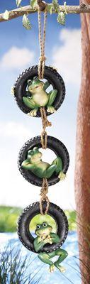 Swinging Frogs Tire Swing Hanging Garden Decoration
