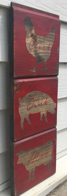 Set of 3 Rustic Reclaimed Wood 7x7 Signs. Farm animals. Chicken. Pig. Cow home decor.  by Homestead1855