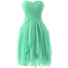 Endofjune A short And Simple Sleeveless Chiffon Prom Dresses ($87) ❤ liked on Polyvore featuring dresses, short chiffon dress, green sleeveless dress, short cocktail dresses, short prom dresses and green dress