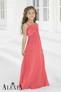Charmeuse Gathered,Pleated,Straps Style 40 Junior Bridesmaid Dress by Alexia Designs - style 2974 color coral