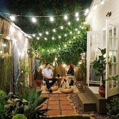 35 awesome patio yard string lights ideas outdoor and garden Outdoor Rooms, Outdoor Living, Outdoor Decor, Small Outdoor Spaces, Outdoor Projects, Outdoor Ideas, Outdoor Couch, Diy Projects, Backyard Lighting