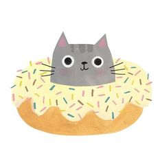 Sweet vanilla glazed donut kitty by Angie Rozelaar (@angierozelaar) • Instagram photos and videos Illustration Art, Cat Illustrations, Cat Art, Kids Rugs, Photo And Video, Vanilla, Cartoon Cats, Simple, Cute