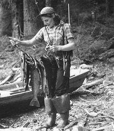 woman having caught fish