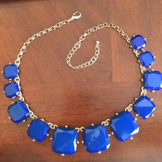 Big Blue Bold Necklace Bold statement! Gold tone, adjustable, big blue faceted paste stones. Great royal blue color! Jewelry Necklaces