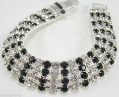 "Swarovski Crystal Jet Curved bracelet  4 Row 7.25"" 22ct Hard Gold/ Silver Plated"
