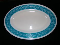Vintage Pyrex Tableware Corning Oval Platter Chop Plate 793-12 Turquoise Floral