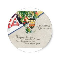 Shop Christmas Greetings Vintage Christmas Classic Round Sticker created by postcardshoppe. Christmas Greetings, Christmas Gifts, Holiday Essentials, Wishes For You, Christmas Stickers, Star Shape, Round Stickers, Sticker Design, Vintage Christmas