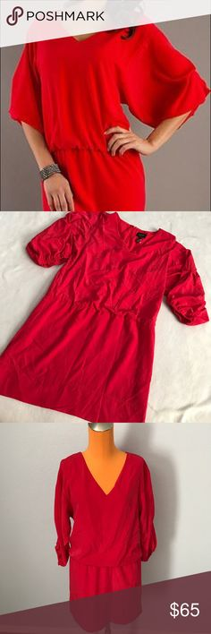 """Laundry 3/4 Slevee Vibrant Red Sleeved Dress 34"""" length 19"""" armpit to armpit. Vibrant red color. 3/4 Sleeve. Elastic waistband. Zips up back middle. Fully lined. Excellent condition. Bundle 2+ items for a discount Laundry By Shelli Segal Dresses Long Sleeve"""