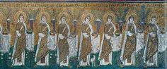 Ravenna, Basilica di San't Apollinare Nuovo. Mosaico della Teoria delle Sante Vergini ca 568 a.C.