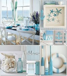 Coastal Living Deco Ideas - Once made the decision .Coastal Living Deco Ideas - Once you have made the decisions about the larger elements, such as wall paint o . Beach Cottage Style, Beach Cottage Decor, Coastal Style, Coastal Decor, Diy Home Decor, Coastal Curtains, Seaside Decor, Beach Theme Wall Decor, Coastal Bathroom Decor