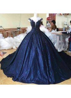 Wedding Dress Ball Gown Lace Pearl Beaded V Neck Off Shoulder Navy Blue Ball Gowns - Item:Ball Gowns Wedding Dresses Occasion:Wedding,Formal,Quinceanera Process to 15 days Shipment:Send via dhl,fedex,aramex Blue Ball Gowns, Ball Gown Dresses, Evening Dresses, Masquerade Ball Dresses, Prom Dresses, Evening Outfits, Dresses Uk, Winter Dresses, Formal Dresses